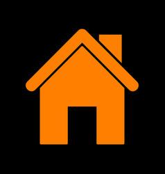 Home silhouette orange icon on black vector