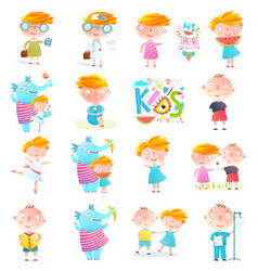 Kids boys and girls collection clipart vector