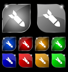 Missilerocket weapon icon sign set of ten colorful vector