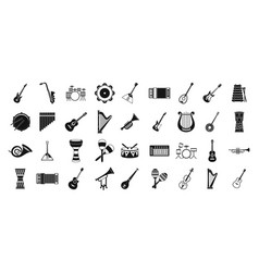 Musical instrument icon set simple style vector