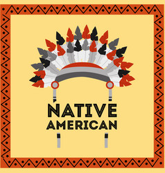 native american headwear feathers tribal vector image vector image