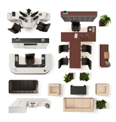 Office Interior Elements Top View Set vector image