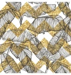 Palm leaves on golden glitter chevron background vector