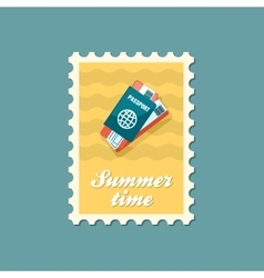 Passport with tickets stamp summer vacation vector