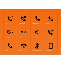 Phone handset and call icons on orange background vector