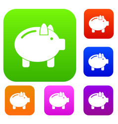 Piggy bank set collection vector