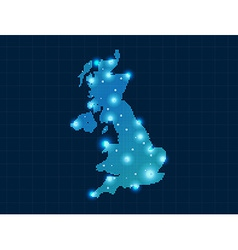 pixel United Kingdom map with spot lights vector image