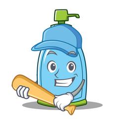 Playing baseball liquid soap character cartoon vector