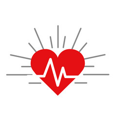 Red heartbeat cardio vital sign vector