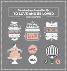 Set of design elements for wedding vector image
