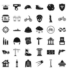 Stone icons set simple style vector