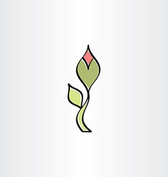 Stylised flower with outline icon vector