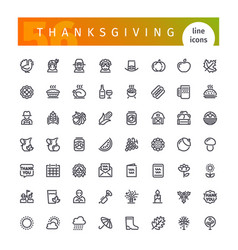 thanksgiving line icons set vector image vector image