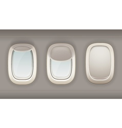 Three realistic portholes of airplane vector