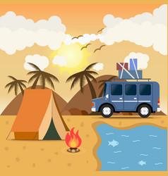 travel car campsite place landscape mountains vector image