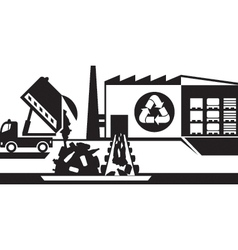 Waste recycling plant vector