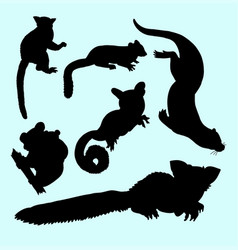 Weasel squirrel and koala animal silhouette vector