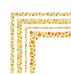 Four corners made from cute autumn leaves isolated vector