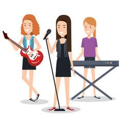 Band of musicians girls playing musical vector