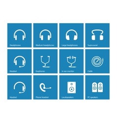 Earphones and speakers icons on blue background vector