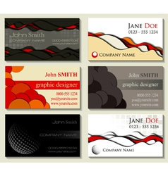 Abstract business cards kit of six designs with cu vector