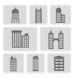 icons with various city buildings vector image