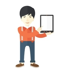 Asian guy holding a digital tablet vector