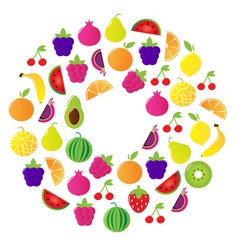 fresh fruit  berries circle vector image