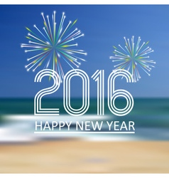 Happy new year 2016 on the beach color background vector