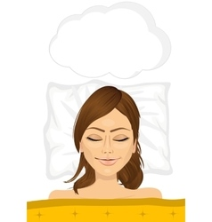 Young woman sleeping in bed at home top view vector