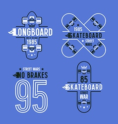 Skateboard and longboard badges vector