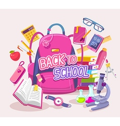 Big pink backpack with many student items vector