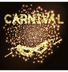 Golden carnival mask vector