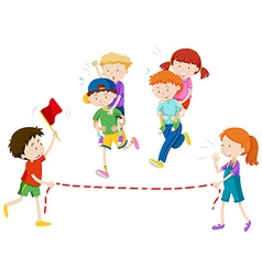Children playing piggy back ride race vector