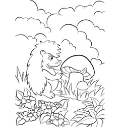 Little cute hedgehog sees the big mushroom vector