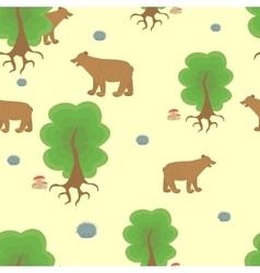 Cartoon bear in the woods vector