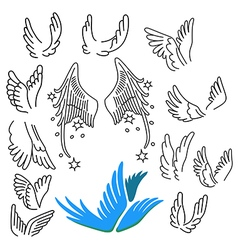 Wings set linear silhouette vector image