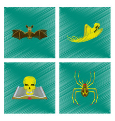 Assembly flat shading style icon bat ghost book vector
