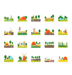 cartoon eco farm color icons set vector image