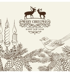 Christmas card with pinecone vector