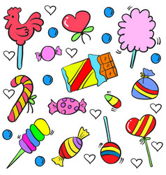 Colorful candy object of doodle style vector