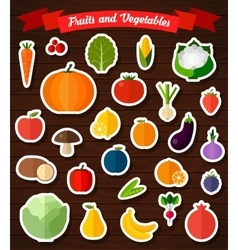 Colorful flat fruits and vegetables stickers set vector image