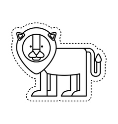 Cute lion character icon vector