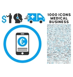 Euro Mobile Banking Icon with 1000 Medical vector image vector image