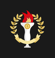 First place trophy in golden wreath on black vector