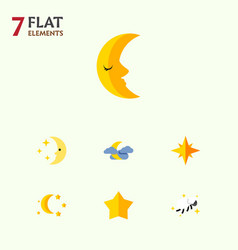 Flat icon midnight set of bedtime moon midnight vector