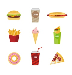 Flat of fast food vector