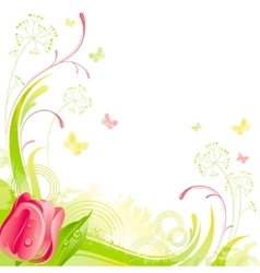Floral summer background with red tulip flower vector image vector image