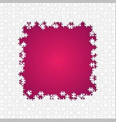Frame white puzzles pieces pink - jigsaw vector