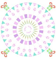 Funny happy birthday round background vector image vector image